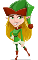 Female Christmas Elf Cartoon Vector Character AKA Candy Elf-licious