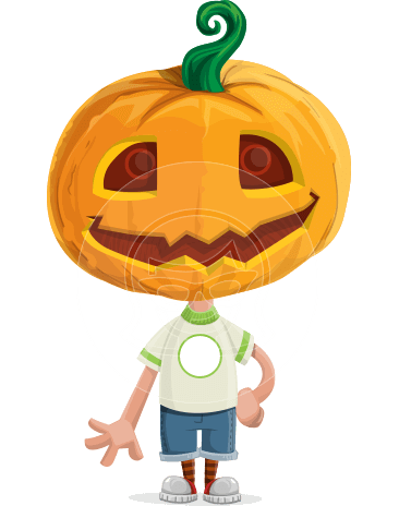 Cute Halloween Kid with Pumpkin Cartoon Vector Character
