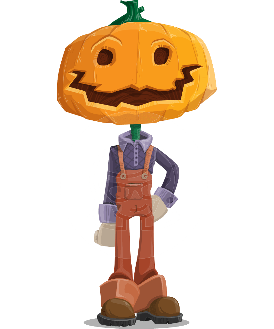 Farm Scarecrow Cartoon Vector Character AKA Peet Pumpkinhead