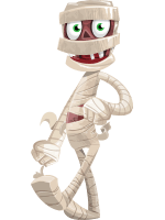 Funny Mummy Vector Cartoon Character AKA Fleshy Wrapped-up