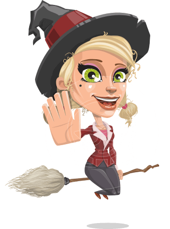 Pretty Blonde Witch Vector Cartoon Character AKA Ophelia the Biz Witch