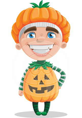 Kid with Halloween Costume Cartoon Vector Character AKA Keat Trick-or-treat