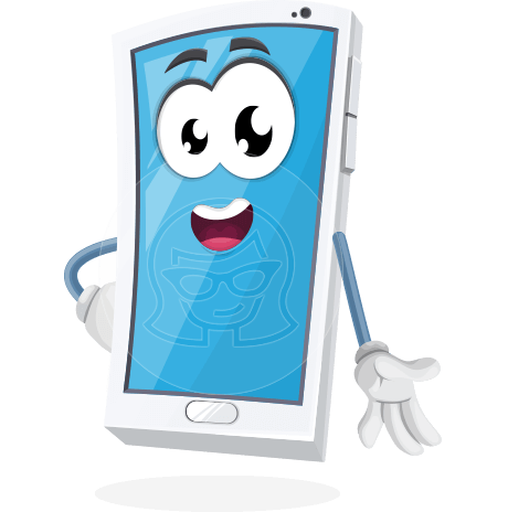 Mobile Phone Cartoon Vector Character