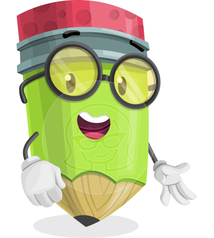 Cute Pencil Cartoon Vector Character AKA Woody the Nerdy Pencil