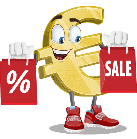 Euro Sign Cartoon Vector Character AKA Euro Wealthon