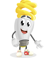 Energy Saving Light Bulb Cartoon Vector Character AKA Bulby Lightson