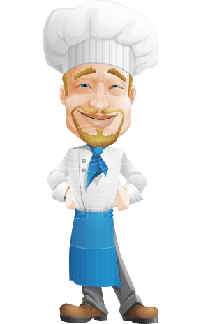 Chef Man with Hat Cartoon Vector Character AKA Olivier Magnifique