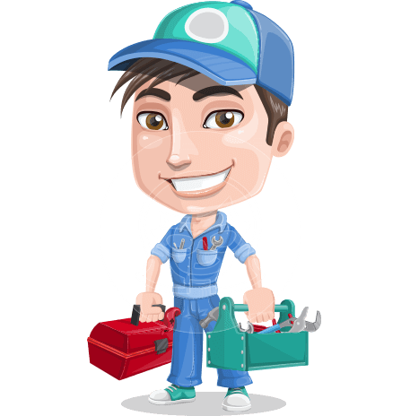 Cute Mechanic Boy Cartoon Vector Character AKA Ashton the Mechanic