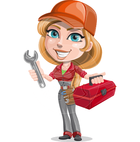 Pretty Mechanic Girl Cartoon Vector Character AKA Carlita