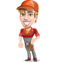 Auto Mechanic Guy Cartoon Vector Character AKA Kyle the Problem Solver