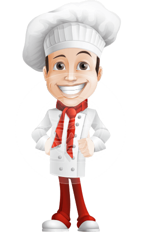 Italian Chef Cartoon Vector Character AKA Basilio the Chef Artist