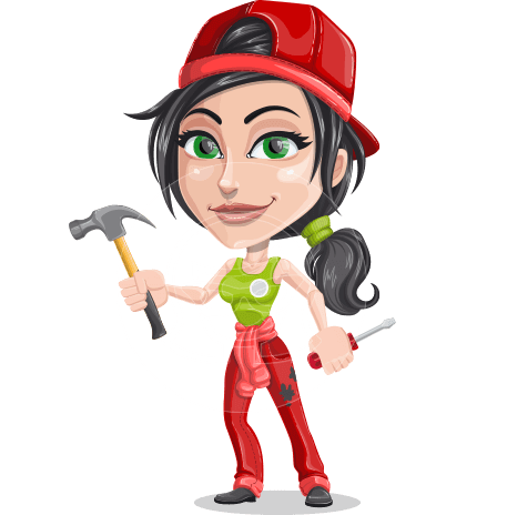 Technician Girl Cartoon Vector Character AKA Tessa the Expert Girl