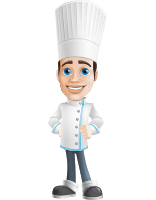 Chef with Uniform Cartoon Vector Character AKA Carlos Food-Lover