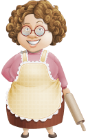 Grandma Vector Cartoon Character AKA Granny Five-Course Meal