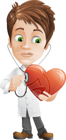 Physician With Stethoscope Cartoon Vector Character AKA Kyle On-the-Call