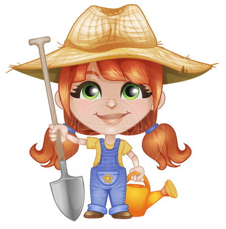 Cute Little Kid with Farm Hat Cartoon Vector Character AKA Mary