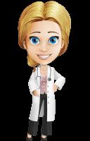 Blonde Female Doctor Cartoon Vector Character AKA Dana Physic-Care