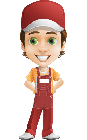 Cute Delivery Boy Cartoon Vector Character AKA Ethan On-time
