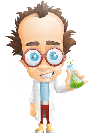Professor Chemist Cartoon Scientist Vector Character AKA Professor Nuts-chmitz