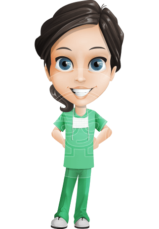 Female Surgeon Vector Cartoon Character AKA Manuela the Medical Intern
