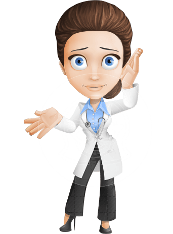Female Physician Vector Cartoon Character AKA Dr. Janette Stilettos