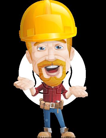 Construction Worker Vector Cartoon Character AKA Workman Mitchell