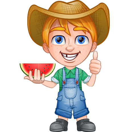 Little Farm Kid Cartoon Vector Character AKA Curtis the Farm's Menace