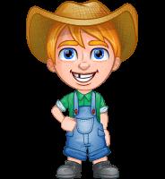 Little Farm Kid Cartoon Vector Character AKA Curtis the Farm's Menace