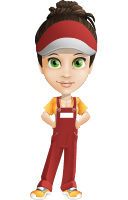 Courier Girl Cartoon Vector Character AKA Hailey the Jumpsuited