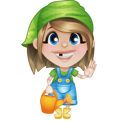Little Farm Girl Cartoon Vector Character AKA Harper the Farm Helper