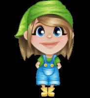 Little Farm Girl Cartoon Vector Character AKA Harper the Farm Helper