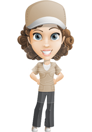Parcel Delivery Girl Cartoon Vector Character AKA Mady the Curl-rier