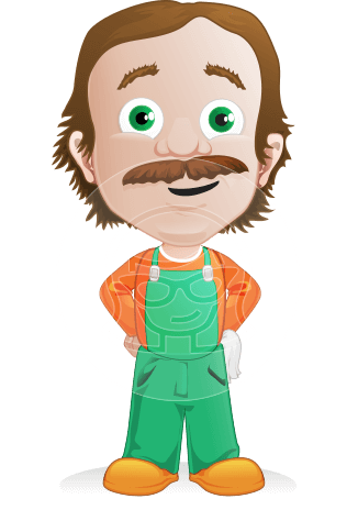 Builder Man Cartoon Vector Character AKA Marcelino Toolbox