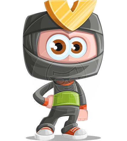 Cute Ninja Cartoon Vector Character AKA Arata