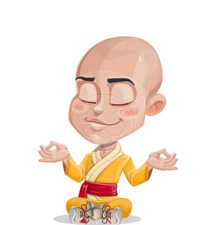 Cute Monk Boy Cartoon Vector Character AKA Kalsang