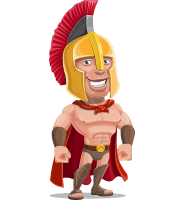Spartan Warrior Cartoon Vector Character AKA Nikos