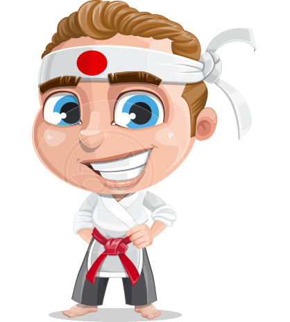 Cute Karate Boy Cartoon Vector Character AKA Combo