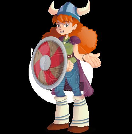 Viking Girl Cartoon Vector Character AKA Lady Ingrid