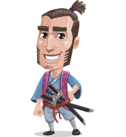 Samurai Warrior Cartoon Vector Character AKA Hattori