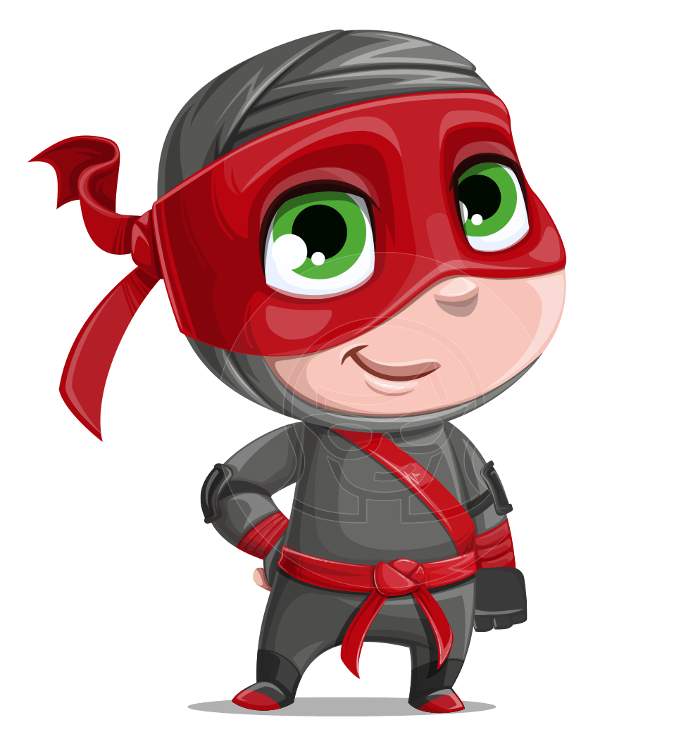 Little Ninja Kid Cartoon Vector Character AKA Shinobi The Curious Boy