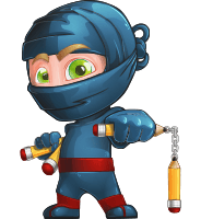 Ninja Warrior Cartoon Vector Character AKA Toshi