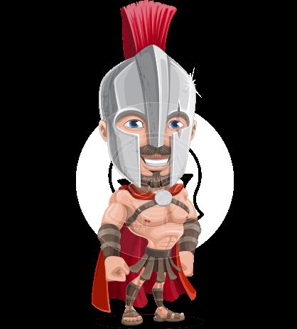 Spartan with Helmet Cartoon Vector Character AKA Spartos