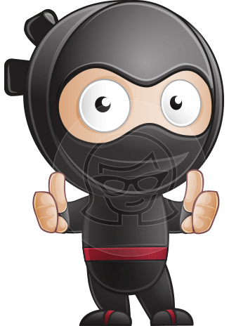 Cute Simple Style Ninja Cartoon Vector Character AKA Ami