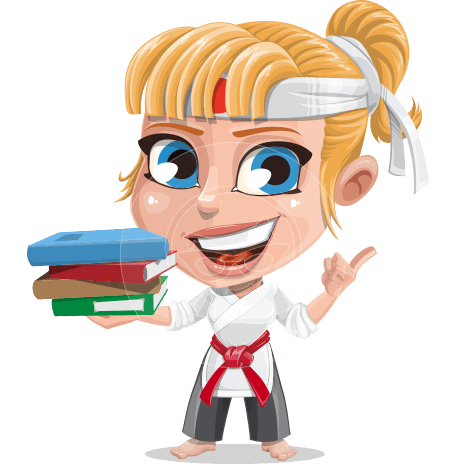 Little Girl with Karate Outfit Cartoon Vector Character AKA Peta