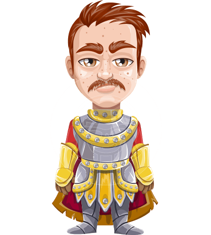Medieval Knight Cartoon Vector Character AKA Mr. Freckles In-Armor