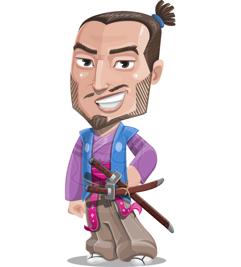 Japanese Samurai Cartoon Vector Character AKA Sakamoto