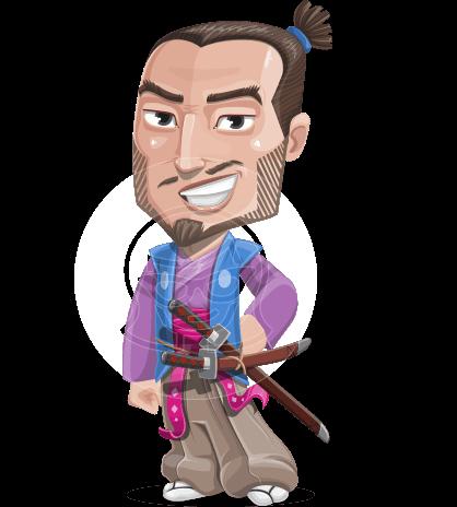 Japanese Samurai Cartoon Vector Character AKA Sakamoto
