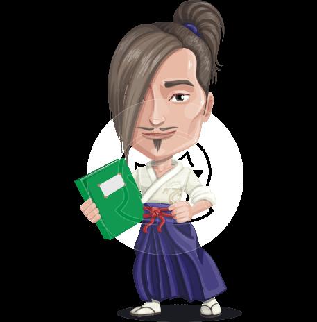 Cute Samurai Guy Cartoon Vector Character AKA Takeda the Handsome