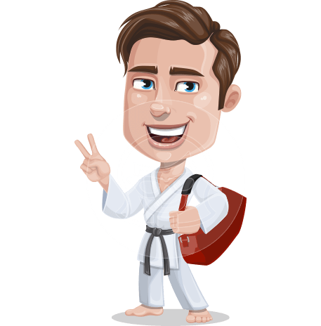 Taekwondo Man Cartoon Vector Character AKA Greg the Handsome