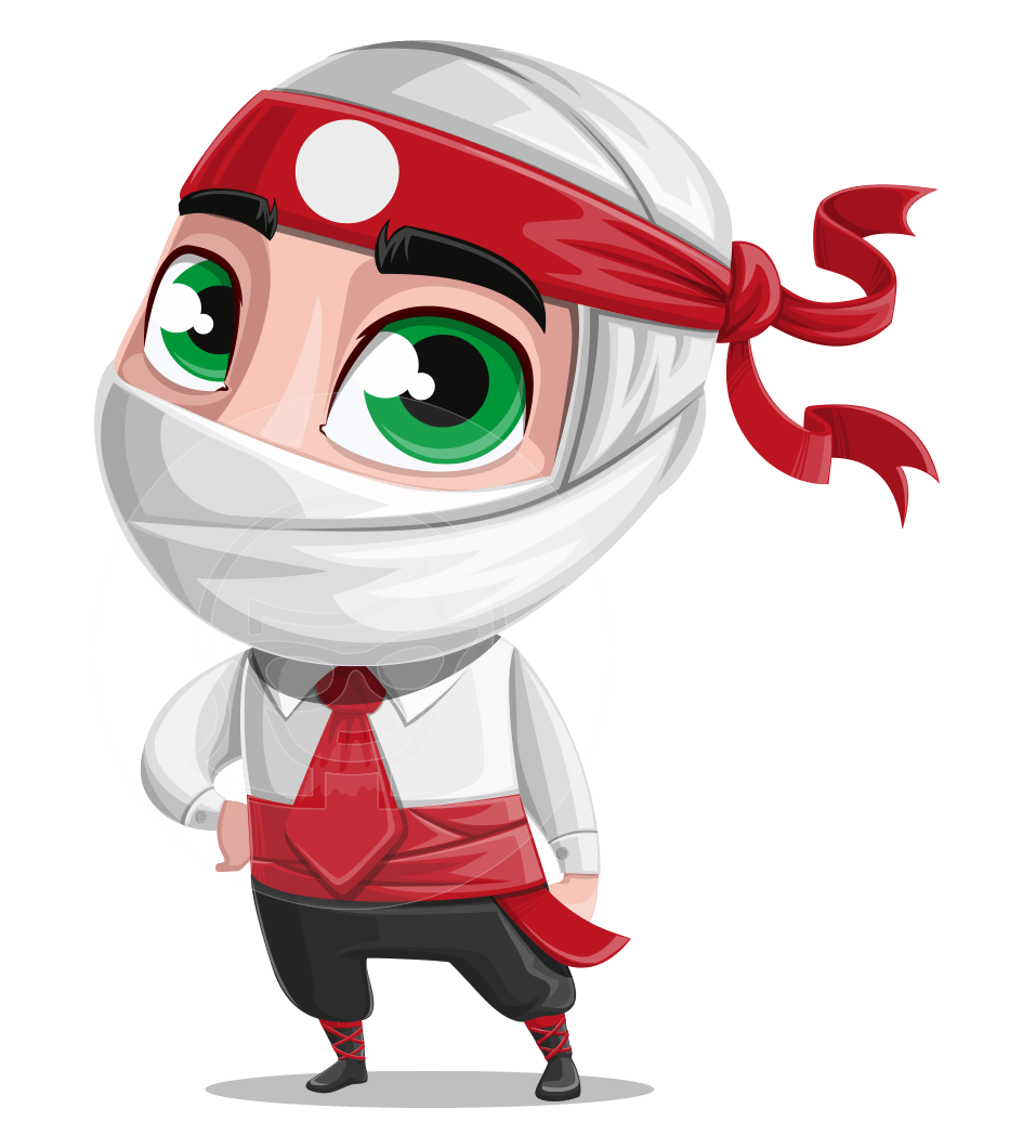 White Ninja with Business Clothes Vector Character Design AKA Yoshiro